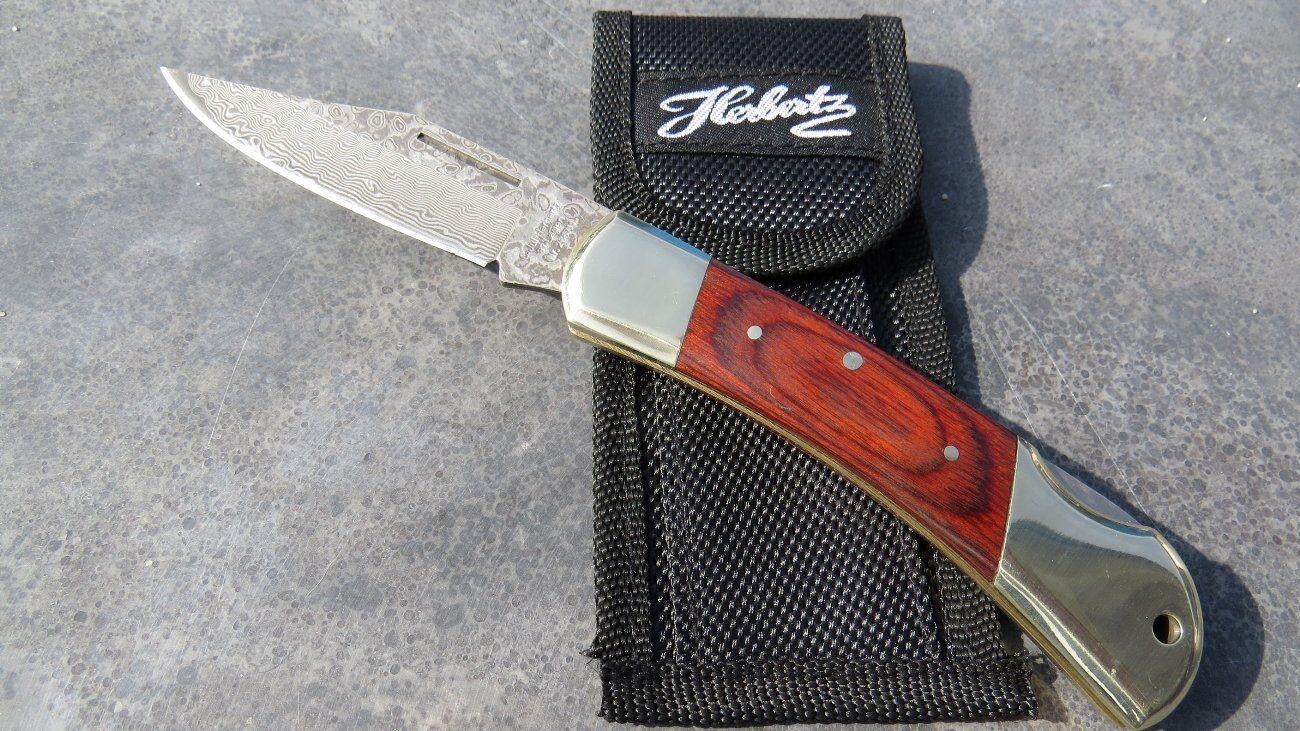 Herbertz Damast-Messer Damastmesser Taschenmesser + Nylonetui Etui 265711