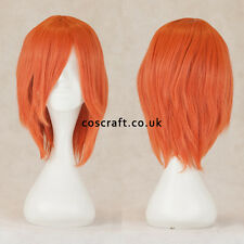 Short medium straight layered cosplay wig in melon red, UK SELLER, Lily style