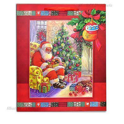 Disinteressato 1 X Small Rosso Lusso Borsa Regalo Di Natale - 3d Sacchetto Di Carta Glitter Decorativi-
