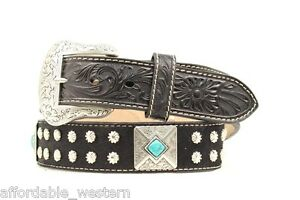 Silver-TURQUOISE-CONCHOS-amp-Buckle-BLACK-HAIR-Leather-WESTERN-BELT-NOCONA-14