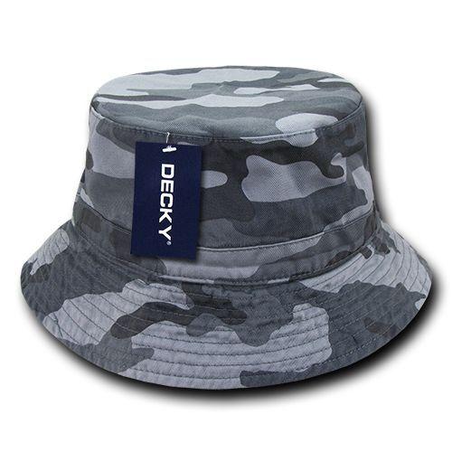 Gray Camo Fishermans Fishing Hunting Army Military Bucket Jungle Safari Cap Hat