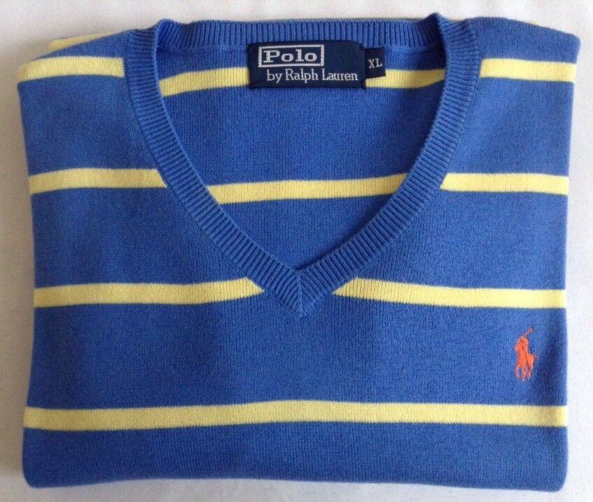 Polo by Ralph Lauren Striped Cotton Jumper, Blau/Gelb, Größe XL