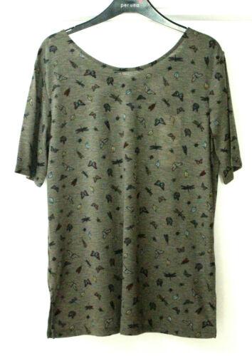 M/&S Per Una Sze 12 14 Short Sleeve Butterfly Print Top Strappy Back Detail Khaki