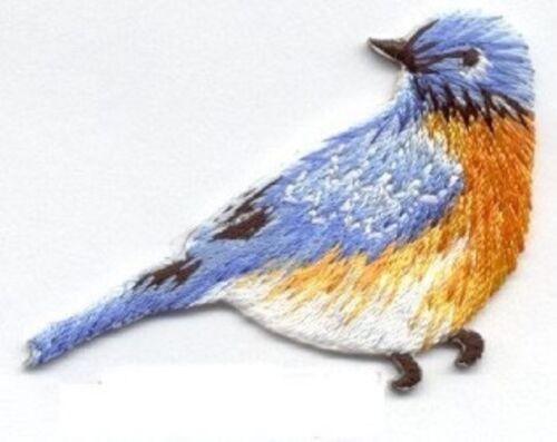 BIRD BLUE IRON ON BIRD PATCH APPLIQUE