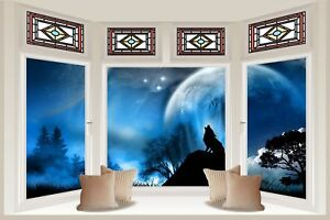 Huge 3d Bay Window Lone Wolf At Night View Wall Stickers Mural