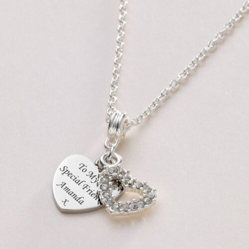 Stunning Crystal Heart Necklace With Engraving Personalised for Ladies or Girls