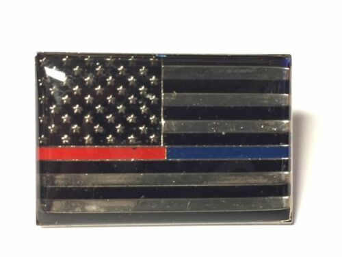 THIN BLUE LINE//RED LINE POLICE /& FIRE AMERICAN FLAG LAPEL PIN HAT TAC NEW