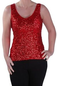 Womens-Sequined-Scoop-Neck-Sleeveless-Party-Ladies-Vest-Blouse-Tunic-Top