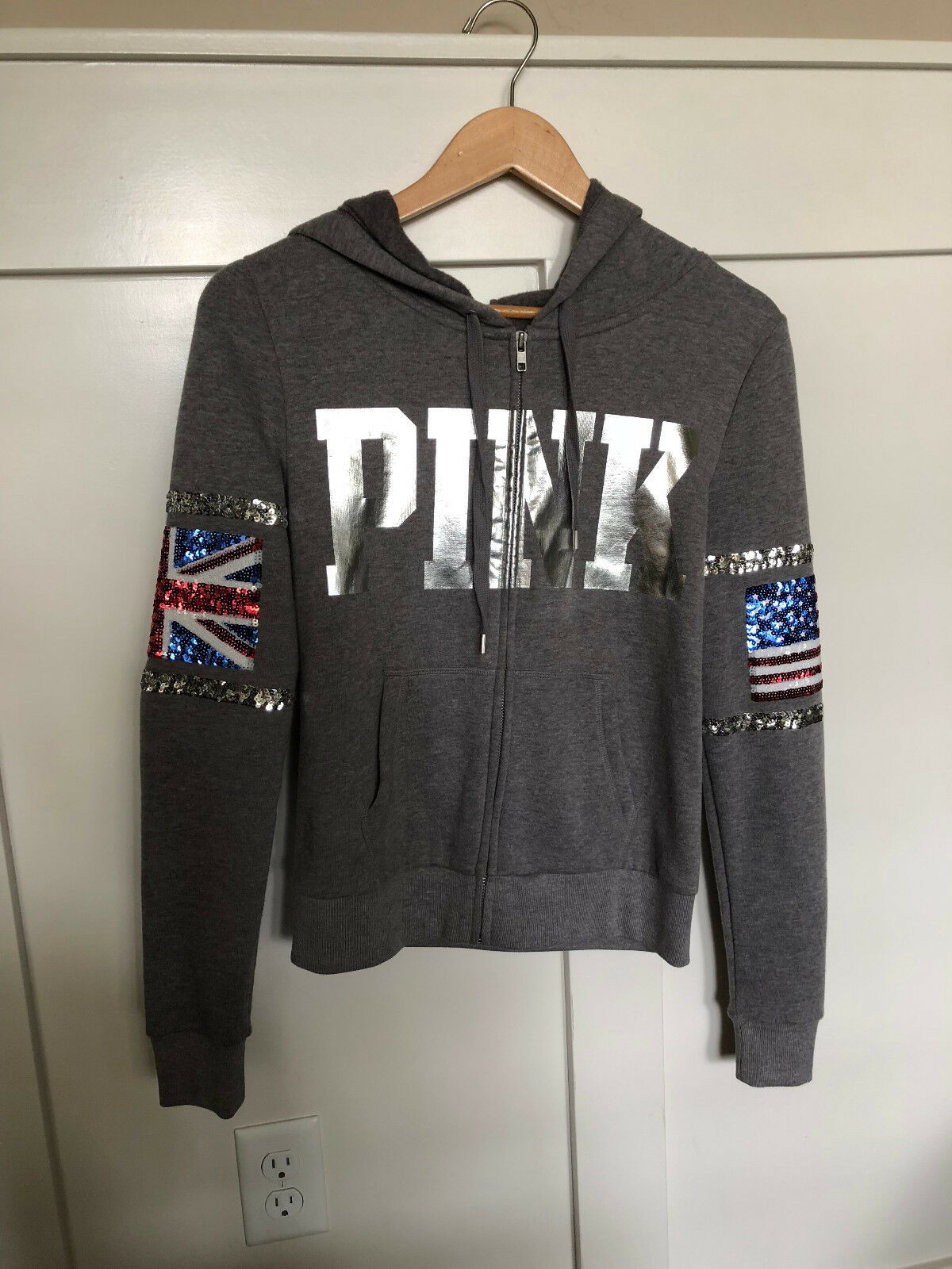 Victoria's Secret PINK Limited Edition London Bling Full Zip Hoodie xs
