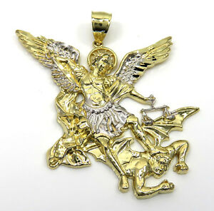 12-Grams-large-Mens-14k-Yellow-Real-Gold-Angel-Vs-Demon-st-michaels-Pendant