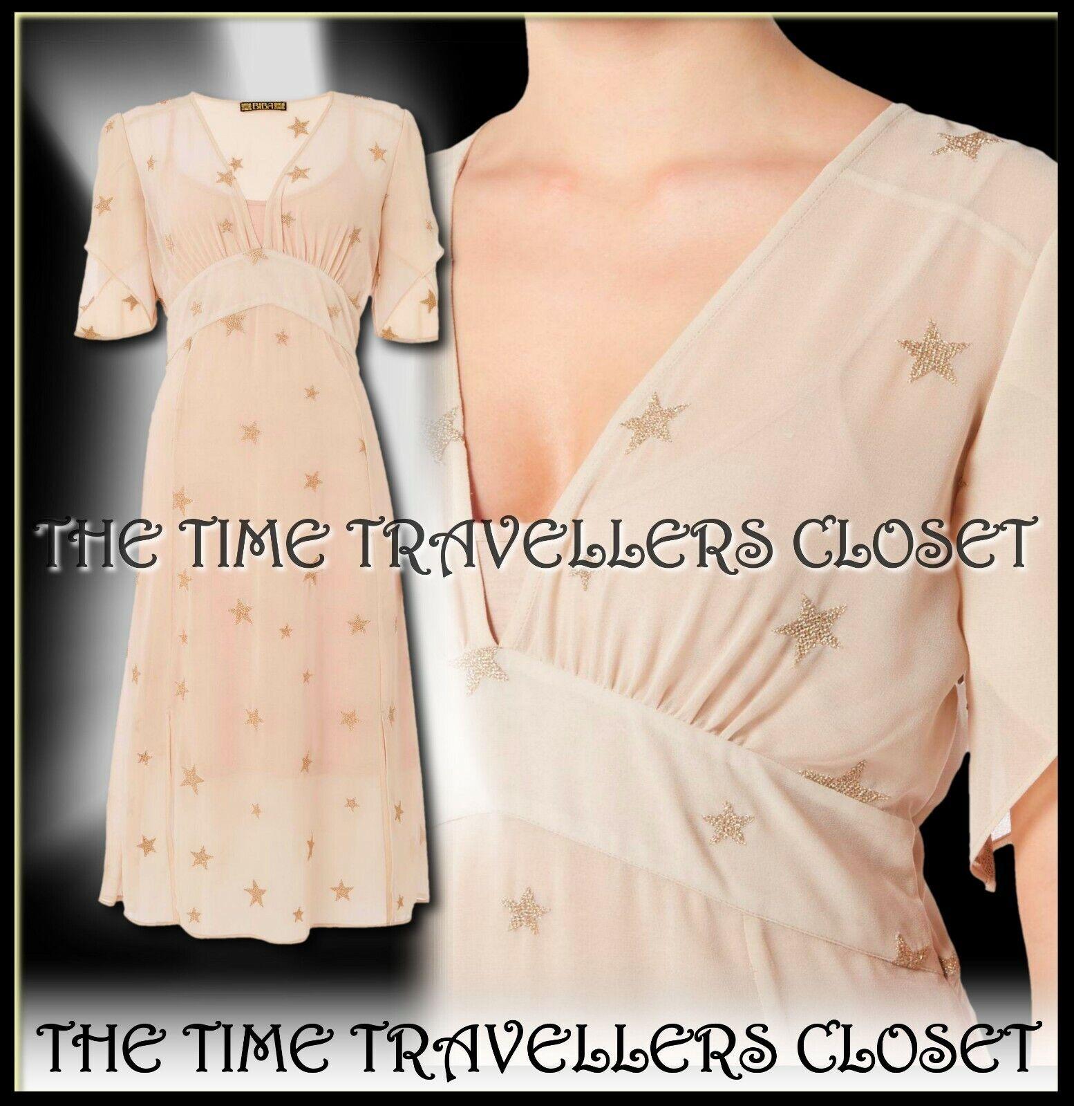 BNWT Biba Oyster Beige Sheer Chiffon Gold Embroiderot Star Calf Dress 40s UK 16