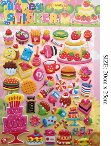 A4 3D Children DIY Craft Sticker Cars Buses Sweets Cakes Numbers Stars Letter UK