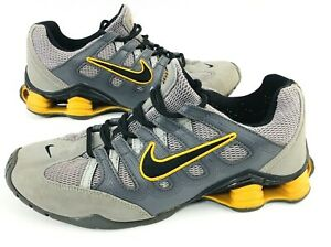 Nike-Shox-Mens-Bridge-Yellow-Gray-Leather-Running-Shoes-Sneakers-Size-10