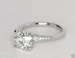 2 10 Ct Round Cut D VVS1 Diamond Engagement Wedding Ring 14K White Gold Over 925