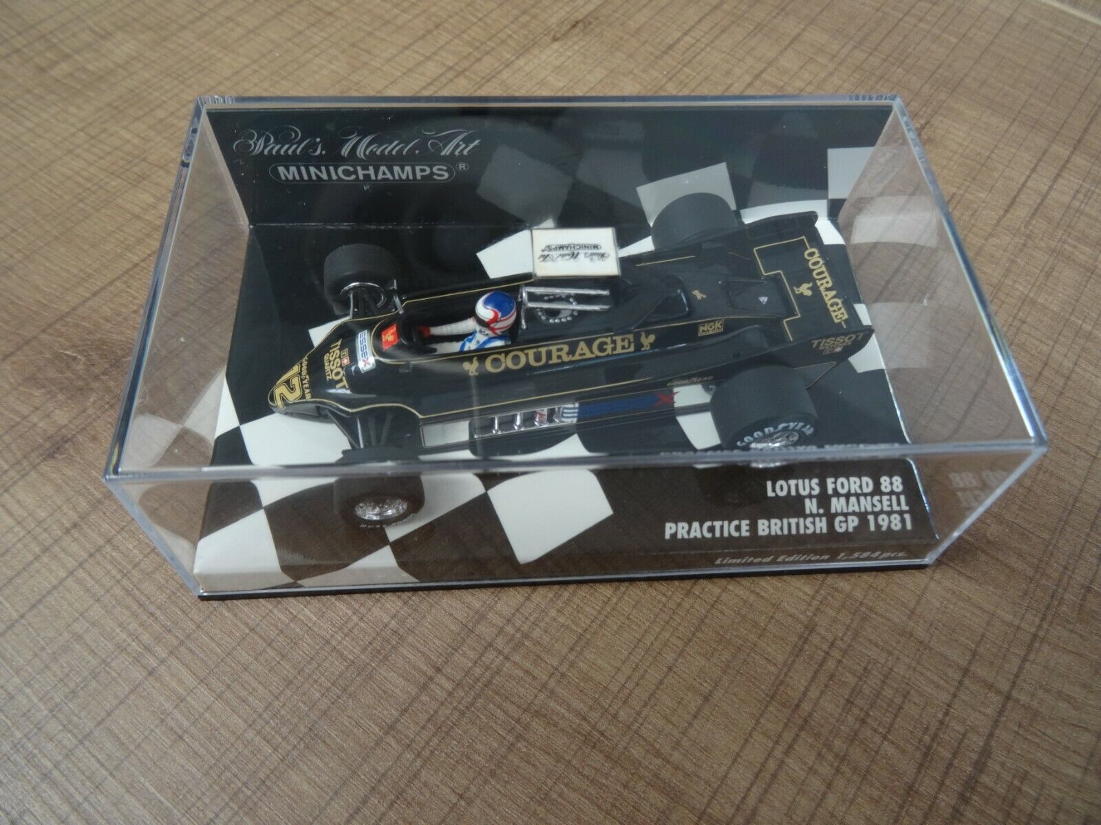 MINICHAMPS 1 43 LOTUS FORD 88 MANSELL PRACTICE BRITISH GP 1981 LIM. ED. 1584 PCS