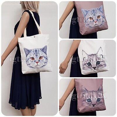 Lo Stile Di Tela Nuova Cat Face Print Shopper Tote Bag Sku Ig3317-mostra Il Titolo Originale Costo Moderato