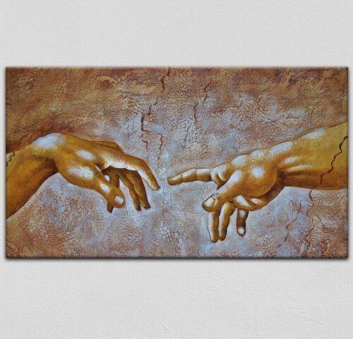 Leinwand Panorama Bild Wandbild Keilrahmenbild Hände Kunst Malerei