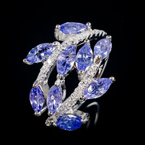 Beauty-Color-5x3mm-Natural-Tanzanite-925-Sterling-Silver-Ring-Size-7-5-R87699