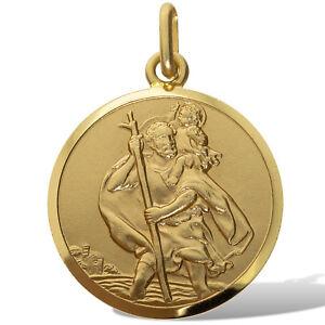 f0ea5596bec 9CT GOLD ST CHRISTOPHER SOLID 18MM ROUND SATIN PENDANT MEDALLION ...