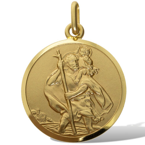 9CT Oro San Cristóbal Medallón Colgante De Raso sólido 18MM ronda de encanto de viaje