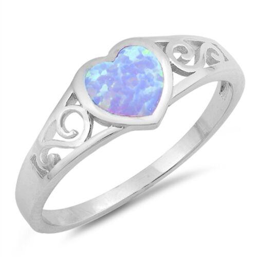 Light Blue Opal Filigree Heart .925 Sterling Silver Ring Sizes 4-10