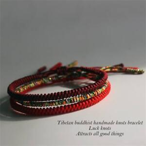 1PC-3PCs-Tibetischen-Buddhistische-Knoten-Armband-Weave-Bangle-Red-Rope