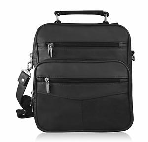 Black-Genuine-Leather-Large-Messenger-Satchel-Briefcase-Travel-Bag-New