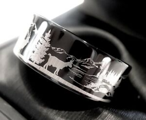 Image Is Loading Wedding Bands Custom Made Rings Mountain Goats Pattern