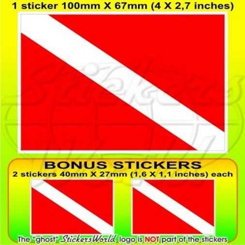 "SCUBA DIVE DOWN Diver Flag DIVING 100mm (4"") Vinyl Sticker, Decal x1+2 BONUS"