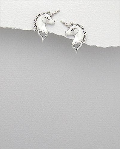"""0.79/"""" 3.17g Solid Sterling Silver Unicorn Heart Love Stud Earrings 20 x 12mm"""