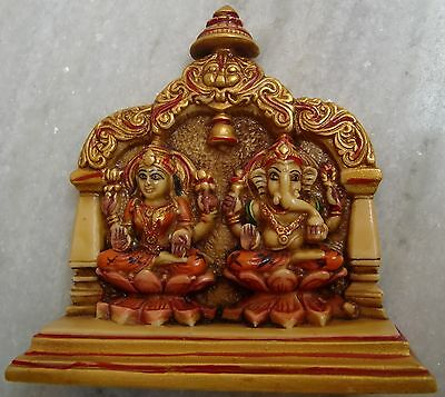 ENGRAVED CAMEL BONE LORD GANESHA AND GODDESS LAXMI STATUE EXQUISITE HOME DECOR