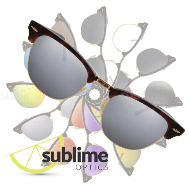 4f6e5a1cb90 POLARIZED Metallic Silver Replacement Lenses for Ray Ban Clubmaster 51mm  RB3016