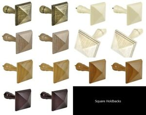 Details About Integra Woodworks 2 X Wooden Curtain Holdbacks Square Small Or Large 7 Colours