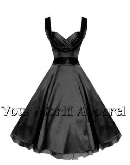 BEAUTIFUL H&R LONDON BLACK SATIN PARTY 1950's EVENING DRESS VINTAGE MARILYN