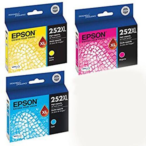 2018-2019 3-PACK Epson GENUINE 252 T252 252XL T252XL Color Ink WF-7620