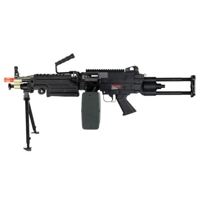 airsoft m249 para 400 fps heavy machine gun lmg rifle full metal ebay
