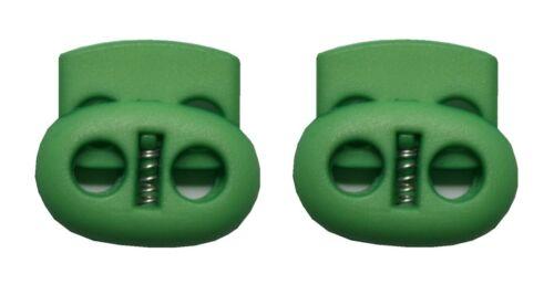 0146 Kordelstopper Kordelklemme oval 2 Loch grün 2 Stück