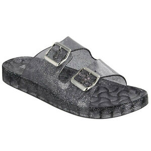 a3593846a037 Details about Women s MIA JEWEL Black Clear Glitter Dual Buckle Slip-On  Slide Sandal Shoes