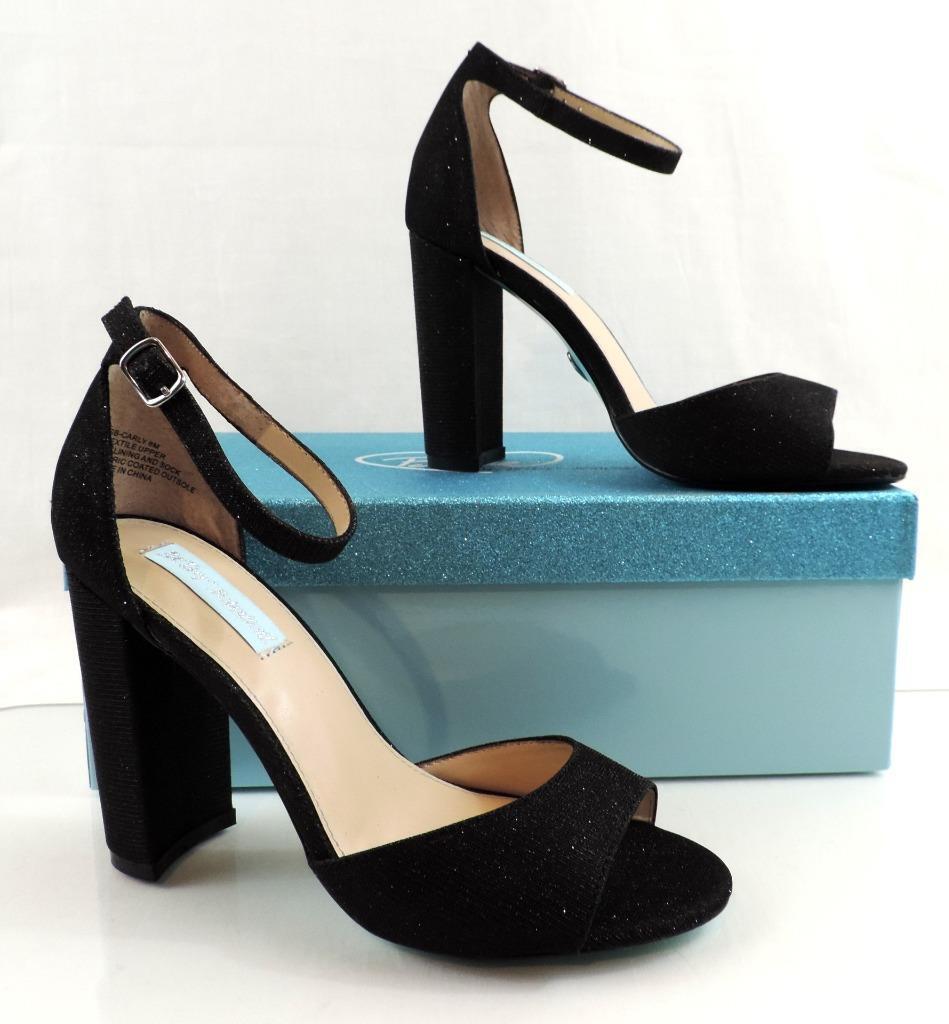 azul By Betsey Betsey By Johnson Carley y Correa en el Tobillo Bloque Tacones Vestido Sandalias Negro Tamaño 6 24d365