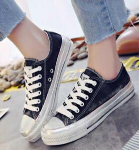 Femme-Retro-Low-Top-Lacets-Toile-Retro-cassual-Shoes-Korean-Sneakers-Fashion