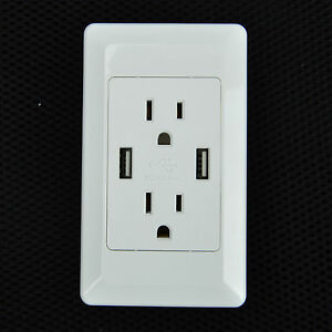 Dual Usb Port Electric Wall Charger Power Outlet Panel Plate Dock