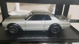 1:18 Autoart 87277 Nissan Skyline GT-R Racing (KPGC - 10) 1972 in (environ 5008.88 cm) Silver Brand New