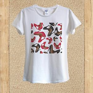 c0e07fc11c52ba Black & Red High Heels with white Dots Doodle T-shirt 100% Cotton ...