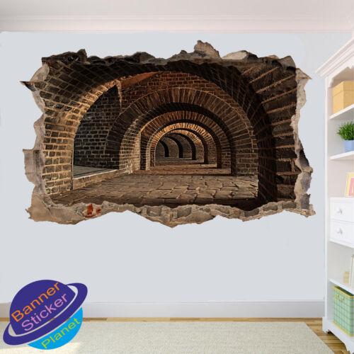 Dédales souterrains tunnels 3D smashed autocollant mural art chambre décoration autocollant murale YN9