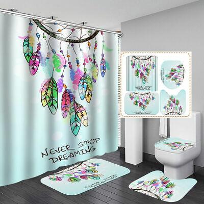 Dream Catcher Color Art Shower Curtain Bath Mat Toilet Cover Rug Bathroom Decor