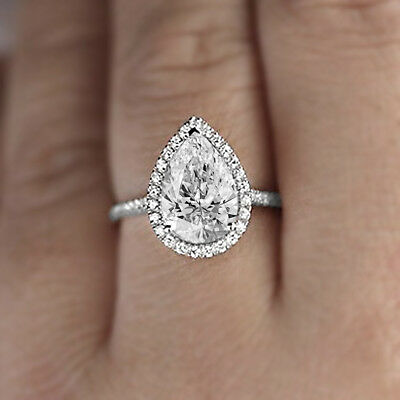 5 Ct Pear Cut Diamond Halo Engagement Wedding Ring 14K White Gold Over 925