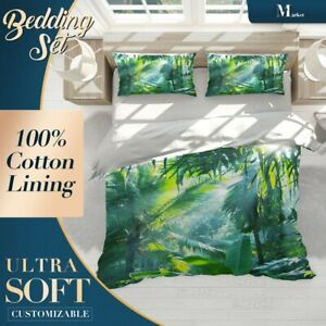 Tropical-Forest-Jungle-Green-Doona-Cover-Sets-with-2x-Matching-Pillowcases