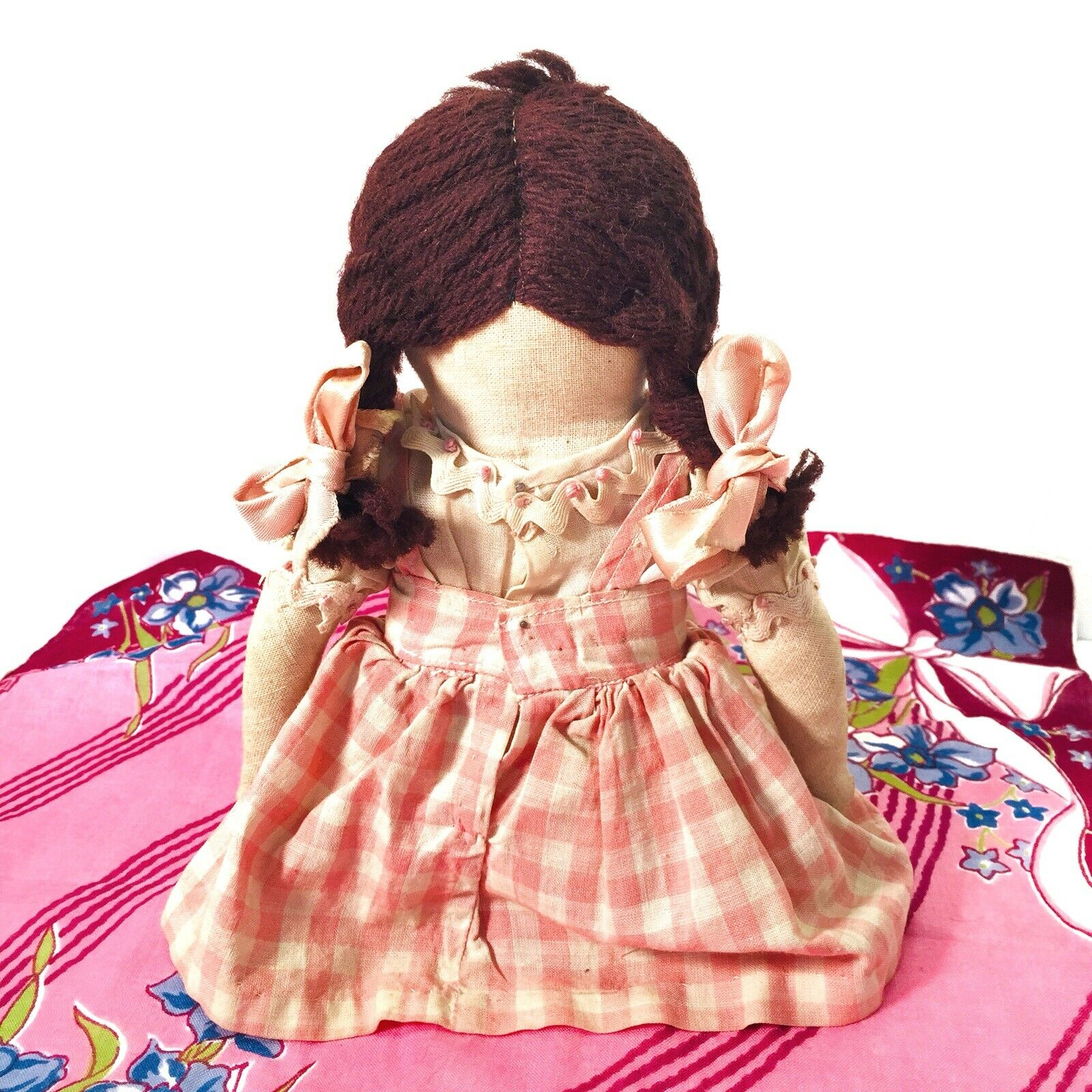 Antique Cloth Cloth Cloth Girl bambola with Embroiderosso Face in Original Clothes 1800's 03b1a6