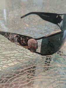ED Hardy DEATH OR GLORY Sunglasses Black EHS 045 L.A.3D stoned skull  & FREE