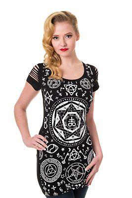 Women/'s Black Gothic Rock Punk Rockabilly Bat Shirt T-shirt Top Banned Apparel